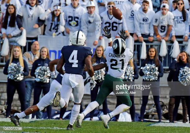 Cam Chambers of the Michigan State Spartans pulls in a catch against Nick Scott of the Penn State Nittany Lions on October 13 2018 at Beaver Stadium...