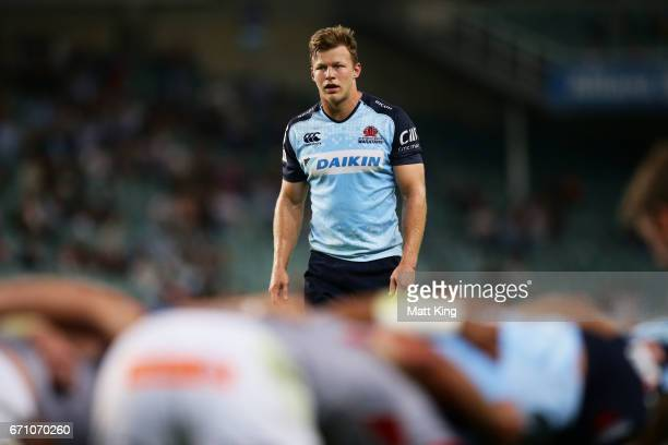 Cam Clark of the Waratahs looks on during the round nine Super Rugby match between the Waratahs and the Kings at Allianz Stadium on April 21 2017 in...