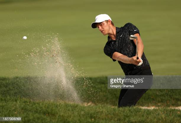 Cam Davis of Australia makes an eagle on the 17th hole during the final round of the Rocket Mortgage Classic on July 04, 2021 at the Detroit Golf...