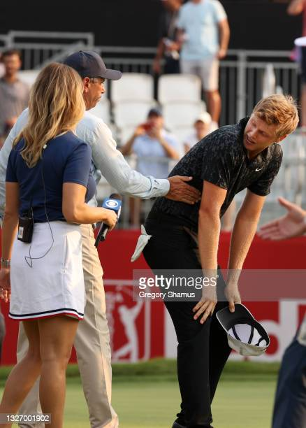 Cam Davis of Australia reacts after putting on the 15th hole in the fifth sudden death playoff and winning over Troy Merritt during the final round...