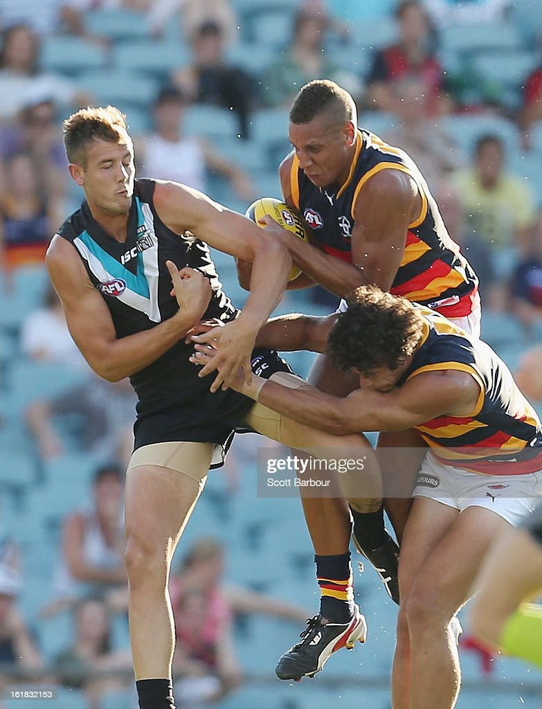 Cam Ellis-Yolmen of the Crows competes for the ball during the round one AFL NAB Cup match between the Adelaide Crows and the Port Adelaide Power at AAMI Stadium on February 17, 2013 in Adelaide, Australia.