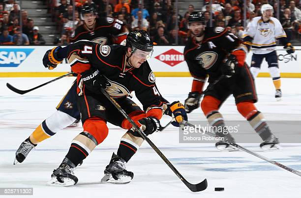 Cam Fowler of the Anaheim Ducks controls the puck in Game Two of the Western Conference Quarterfinals against the Nashville Predators during the 2016...