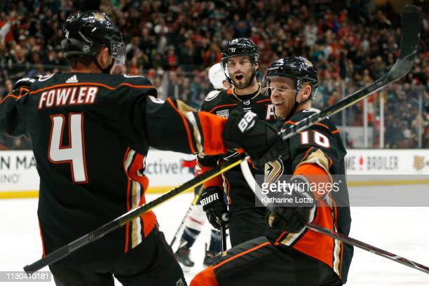 Cam Fowler of the Anaheim Ducks Corey Perry of the Anaheim Ducks of the Anaheim Ducks and Adam Henrique of the Anaheim Ducks celebrate a goal against...