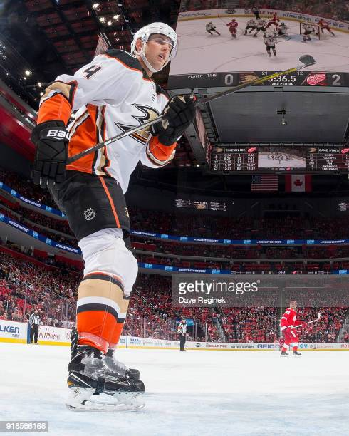 Cam Fowler of the Anaheim Ducks follows the play against the Detroit Red Wings during an NHL game at Little Caesars Arena on February 13 2018 in...