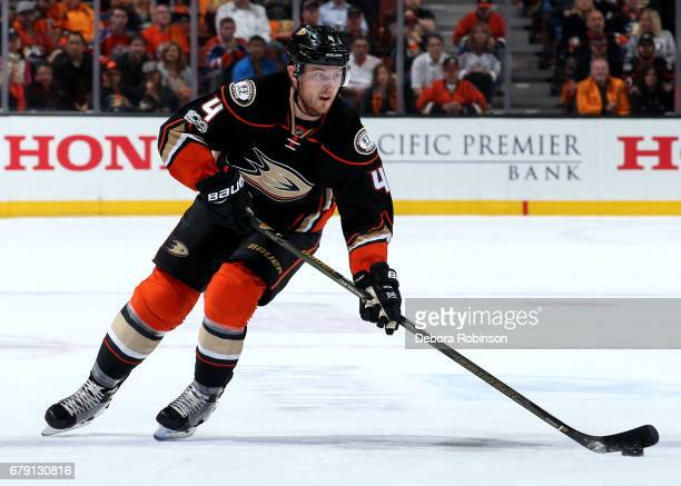 Cam Fowler of the Anaheim Ducks handles the puck during the game against the Edmonton Oilers in Game Two of the Western Conference Second Round...