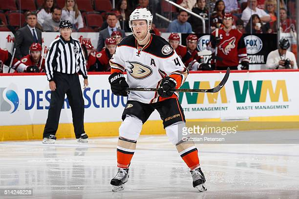 Cam Fowler of the Anaheim Ducks in action during the NHL game against the Arizona Coyotes at Gila River Arena on March 3 2016 in Glendale Arizona The...