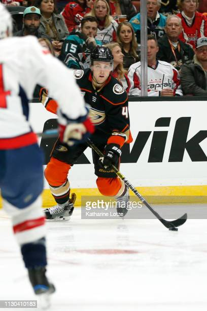 Cam Fowler of the Anaheim Ducks looks for an opening during the third period against the Washington Capitals at Honda Center on February 17 2019 in...