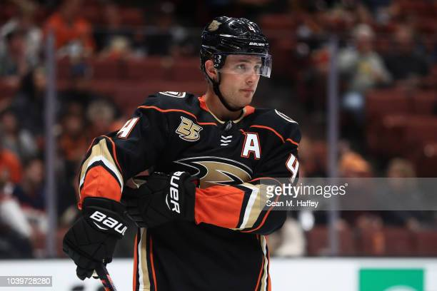 Cam Fowler of the Anaheim Ducks looks on during the second period of an NHL preseason game against the Arizona Coyotes at Honda Center on September...