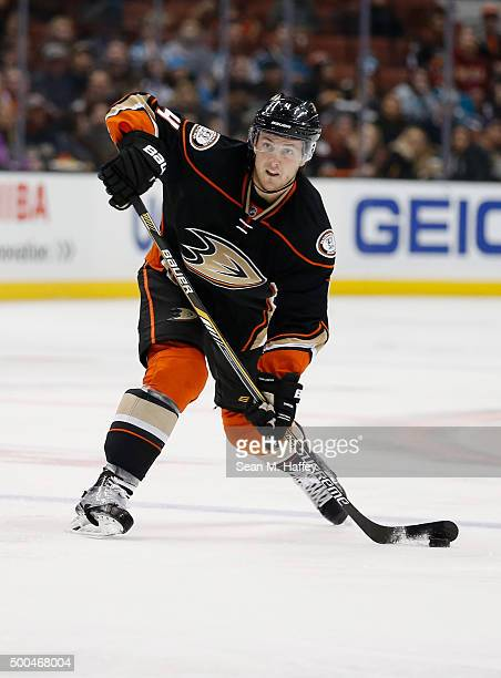 Cam Fowler of the Anaheim Ducks passes the puck during a game against the San Jose Sharks at Honda Center on December 4 2015 in Anaheim California