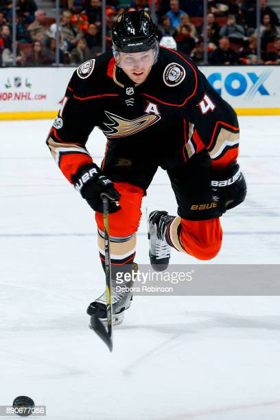 Cam Fowler of the Anaheim Ducks races after the puck during the game against the Carolina Hurricanes on December 11 2017 at Honda Center in Anaheim...