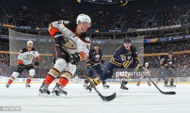 Cam Fowler of the Anaheim Ducks skates against the Buffalo Sabres during an NHL game at the KeyBank Center on February 9 2017 in Buffalo New York