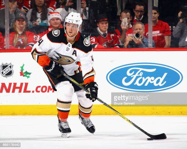 Cam Fowler of the Anaheim Ducks skates against the New Jersey Devils at the Prudential Center on December 18 2017 in Newark New Jersey The Devils...