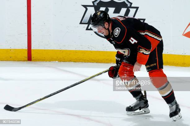 Cam Fowler of the Anaheim Ducks skates off the ice after getting a stick to the face during the game against the Los Angeles Kings on January 19 2018...