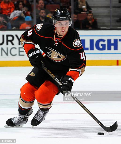 Cam Fowler of the Anaheim Ducks skates with the puck during the game against the New Jersey Devils on March 14 2016 at Honda Center in Anaheim...