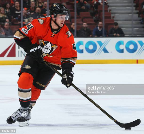 Cam Fowler of the Anaheim Ducks skates with the puck during the game against the Nashville Predators on March 7 2017 at Honda Center in Anaheim...