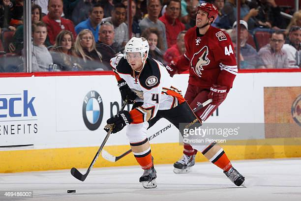 Cam Fowler of the Anaheim Ducks skates with the puck during the NHL game against the Arizona Coyotes at Gila River Arena on April 11 2015 in Glendale...