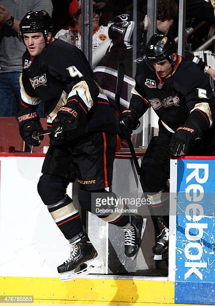 Cam Fowler of the Anaheim Ducks takes to the ice before the game against the Carolina Hurricanes on March 2 2014 at Honda Center in Anaheim California