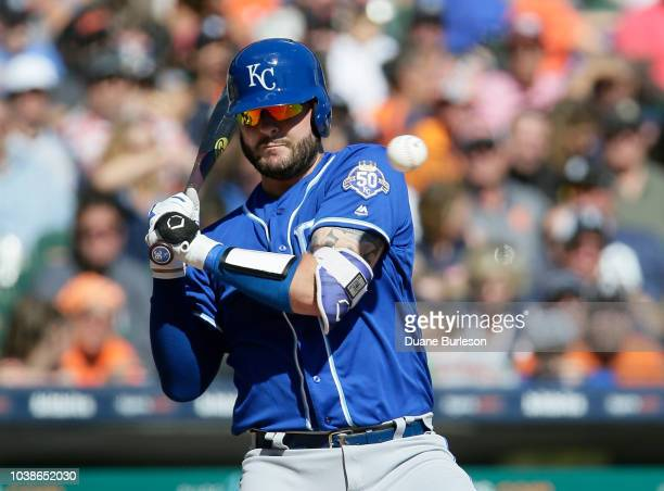 Cam Gallagher of the Kansas City Royals avoids an inside pitch during the sixth inning of a game against the Detroit Tigers at Comerica Park on...