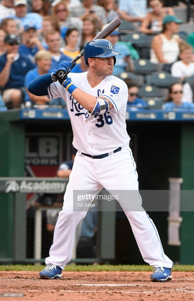 Cam Gallagher #36 of the Kansas City Royals bats in the fifth inning against the Seattle Mariners in game two of a doubleheader at Kauffman Stadium on August 6, 2017 in Kansas City, Missouri.