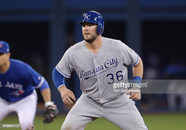 Cam Gallagher of the Kansas City Royals leads off second base after hitting a double in the fifth inning during MLB game action against the Toronto...