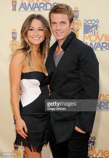 Cam Gigandet and Dominique Geisendorff arrive for the 2009 MTV Movie Awards at the Gibson Amphitheater in Universal City, California on May 31, 2009.