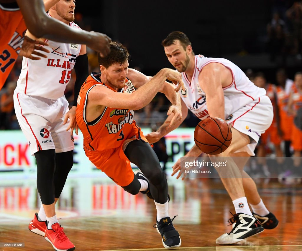Cam Gliddon of the Taipans attempts to get a pass away during the round one NBL match between the Cairns Taipans and the Illawarra Hawks at Cairns Convention Centre on October 6, 2017 in Cairns, Australia.