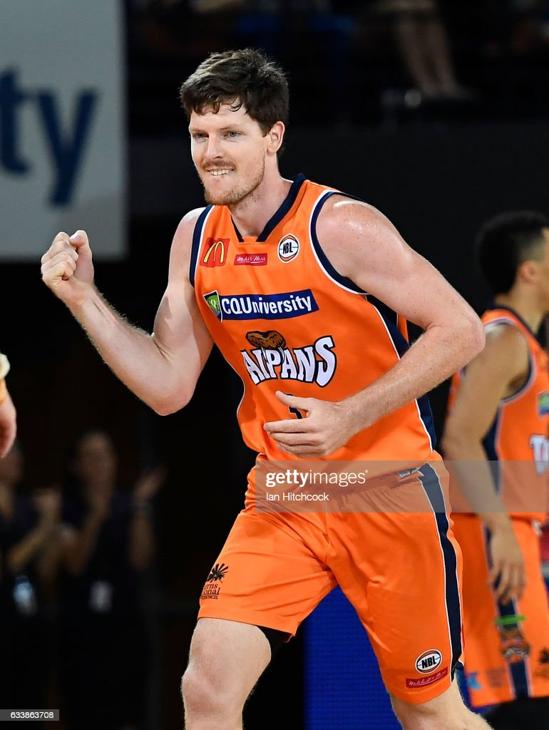 Cam Gliddon of the Taipans celebrates after scoring a three point shot during the round 18 NBL match between the Cairns Taipans and the Perth Wildcats at the Cairns Convention Centre on February 5, 2017 in Cairns, Australia.