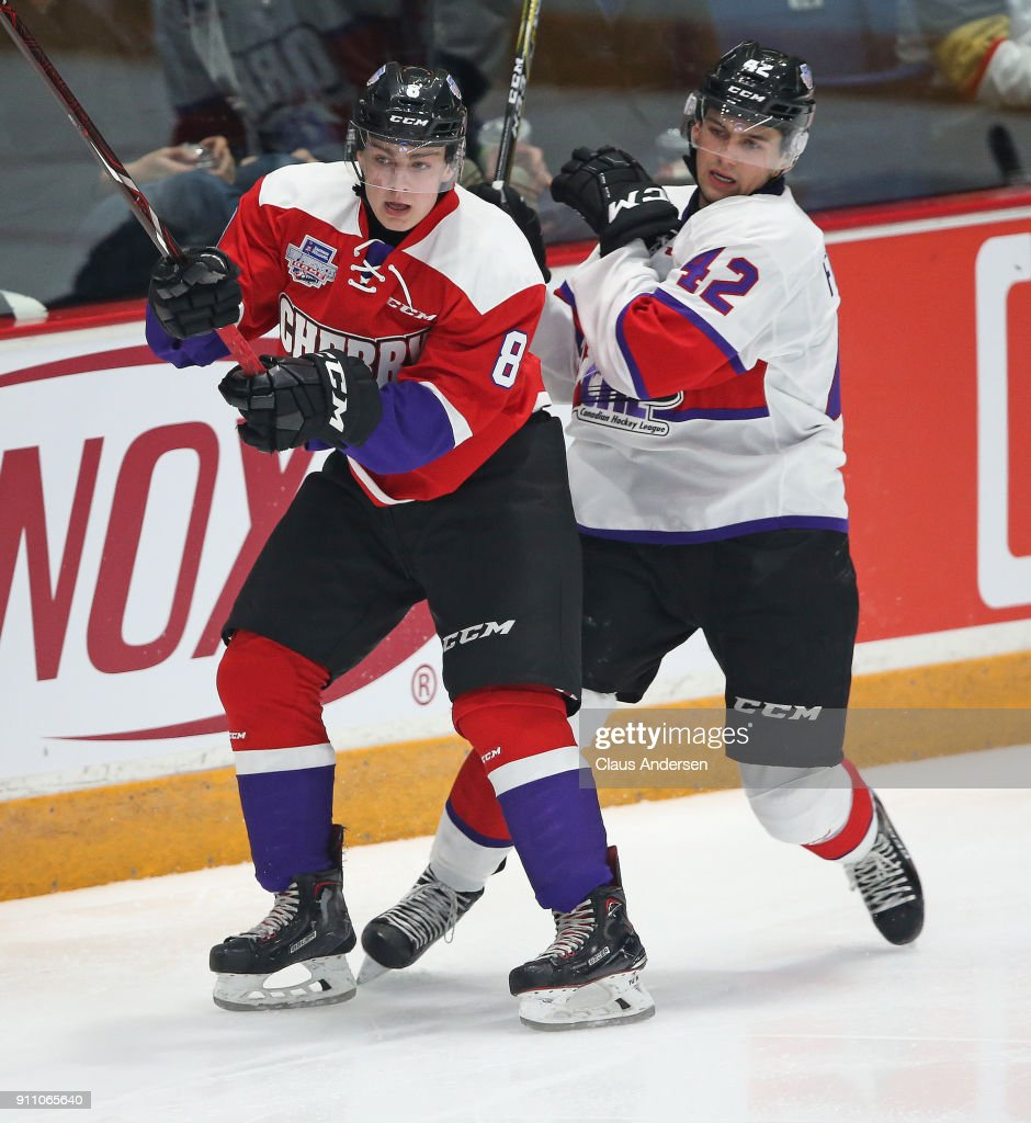 Cam Hillis #8 of Team Cherry skates against Cole Fonstad #42 of Team Orr in the 2018 Sherwin-Williams CHL/NHL Top Prospects game at the Sleeman Centre on January 25, 2018 in Guelph, Ontario, Canada. Team Cherry defeated Team Orr 7-4.
