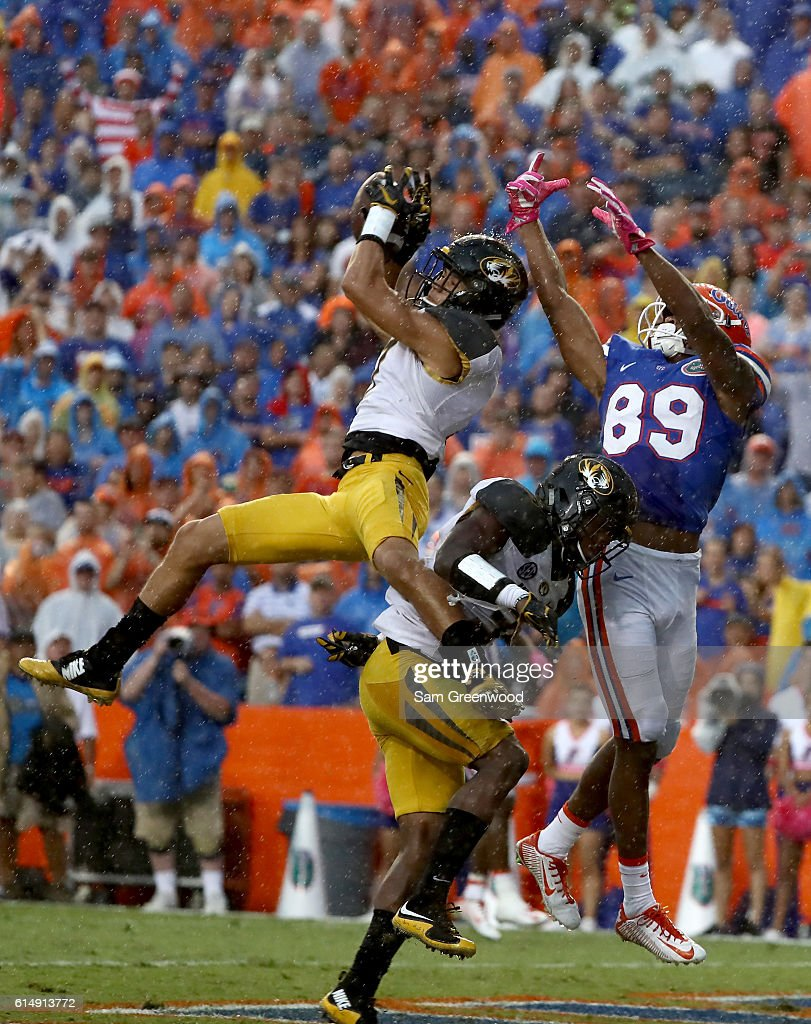 Cam Hilton #7 of the Missouri Tigers breaks up a pass intended for Tyrie Cleveland #89 of the Florida Gators during the game at Ben Hill Griffin Stadium on October 15, 2016 in Gainesville, Florida.