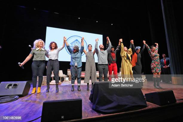 Cam Luvvie Ajayi Maytha Alhassen Halima Aden Sabrina Jalees Priya Parker Ryan Weiss and Sophia Bush bow at the end of the Hello Sunshine and Together...