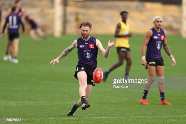 Cam McCarthy in action during a Fremantle Dockers AFL training session at Victor George Kailis Oval on June 01, 2020 in Perth, Australia.