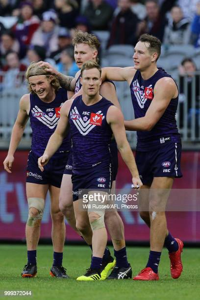 Cam McCarthy of the Dockers celebrates after scoring a goal during the round 17 AFL match between the Fremantle Dockers and the Port Adelaide Power...