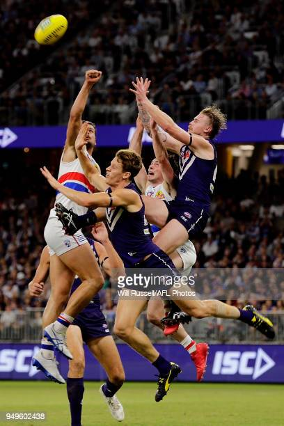 Cam McCarthy of the Dockers goes for the pack mark during the round five AFL match between the Fremantle Dockers and the Western Bulldogs at Optus...