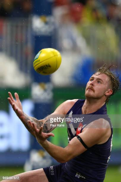 Cam McCarthy of the Dockers looks to mark the ball during the round five AFL match between the Fremantle Dockers and the Western Bulldogs at Optus...