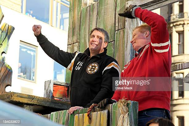 Cam Neely and Larry Murphy attend NHL Discover's CoBranded Float 'Frozen Fall Fun' at the 85th Annual Macy's Thanksgiving Day Parade on November 24...