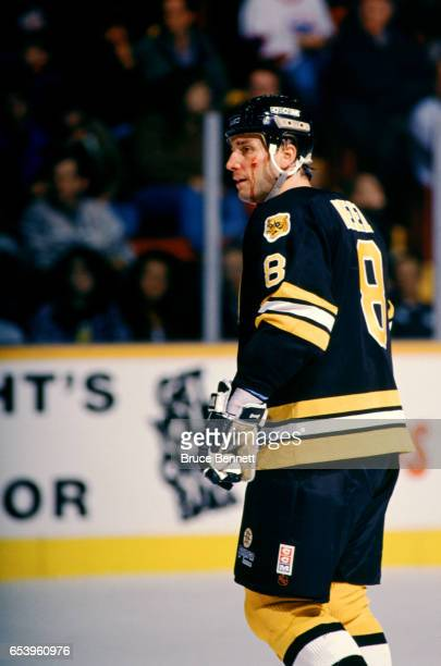 Cam Neely of the Boston Bruins skates on the ice while bleeding from under his left eye during an NHL game against the Winnipeg Jets on February 25...