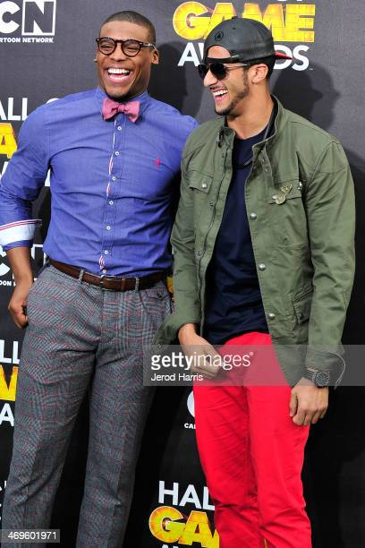 Cam Newton and Colin Kaepernick arrive at the 4th Annual Cartoon Network Hall Of Game Awards at Barker Hangar on February 15 2014 in Santa Monica...