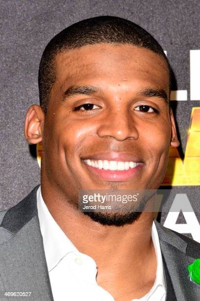 Cam Newton in the pressroom at the 4th Annual Cartoon Network Hall of Game Awards at Barker Hangar on February 15 2014 in Santa Monica California
