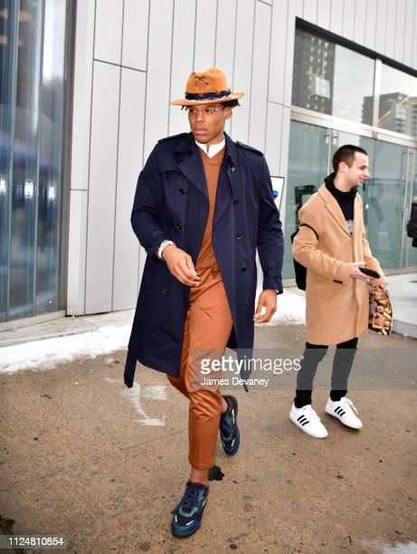 Cam Newton leaves the BOSS fashion show at Pier 36 on February 13 2019 in New York City