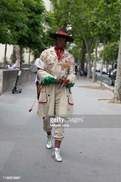 Cam Newton NFL Football player wears a Meshika hat and attends the Heron Preston show at Palais de Tokyo on June 18 2019 in Paris France