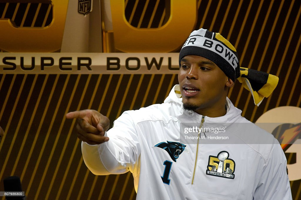 Cam Newton #1 of the Carolina Panthers addresses the media at Super Bowl Opening Night Fueled by Gatorade at SAP Center on February 1, 2016 in San Jose, California.