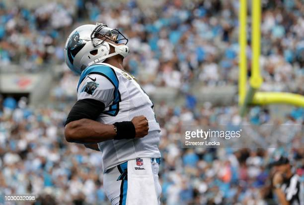 Cam Newton of the Carolina Panthers celebrates a touchdown against the Dallas Cowboys in the second quarter during their game at Bank of America...