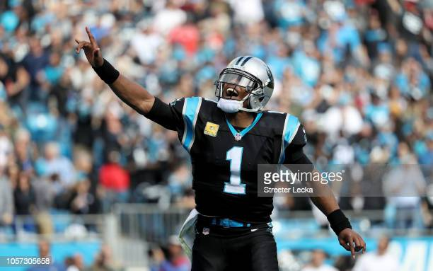 Cam Newton of the Carolina Panthers celebrates a touchdown against the Tampa Bay Buccaneers in the first quarter during their game at Bank of America...
