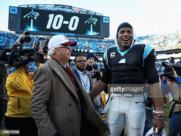 Cam Newton of the Carolina Panthers celebrates after defeating the Washington Redskins 44-16 at Bank of America Stadium on November 22, 2015 in...