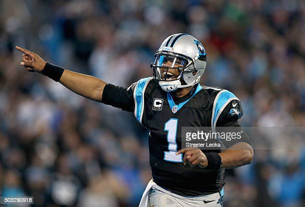 Cam Newton of the Carolina Panthers celebrates after his team scores a touchdown in the second quarter of their game against the Tampa Bay Buccaneers...