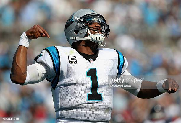 Cam Newton of the Carolina Panthers celebrates after running for a touchdown against the Houston Texans during their game at Bank of America Stadium...