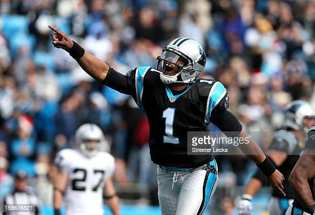 Cam Newton of the Carolina Panthers celebrates after throwing a touchdown pass to teammate Steve Smith during their game against the Oakland Raiders...