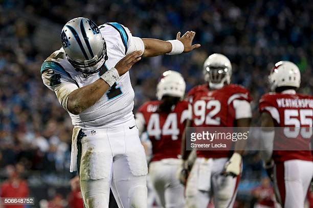 Cam Newton of the Carolina Panthers celebrates after throwing a touchdown pass in the fourth quarter against the Arizona Cardinals during the NFC...
