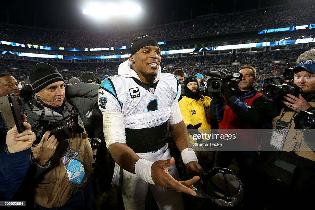 Cam Newton #1 of the Carolina Panthers celebrates defeating the Arizona Cardinals with a score of 49 to 15 to win the NFC Championship Game at Bank of America Stadium on January 24, 2016 in Charlotte, North Carolina.