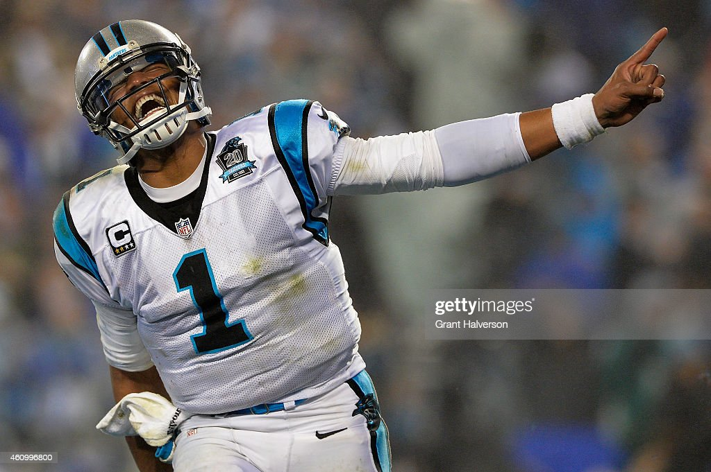 Cam Newton #1 of the Carolina Panthers celebrates during their NFC Wild Card Playoff game against the Arizona Cardinals at Bank of America Stadium on January 3, 2015 in Charlotte, North Carolina.